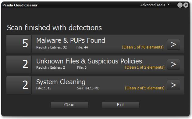 Panda Cloud Cleaner detections
