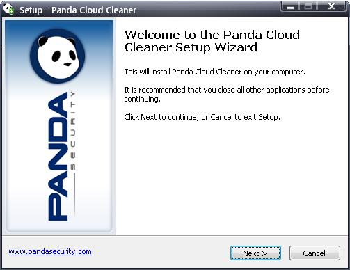 Panda Cloud Cleaner welcome