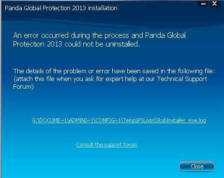 Installation Error Panda 2013