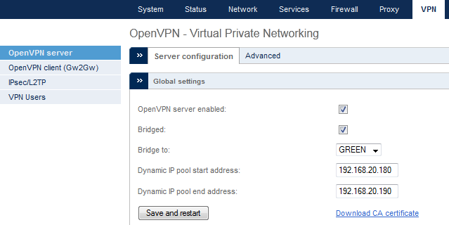 Enable the VPN Server