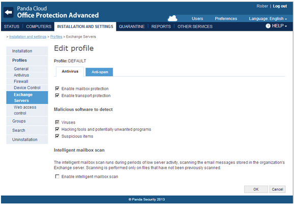 How to configure the Exchange Server protection in the